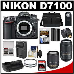 Nikon D7100 Digital SLR Camera with 18-140mm & 55-300mm VR Lenses WU-1a Bag & 32GB Card + Battery & Charger + MB-D15 Grip + Filters + Remote + Accessory Kit