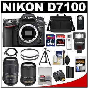 Nikon D7100 Digital SLR Camera with 18-140mm & 55-300mm VR Lenses WU-1a Bag & 32GB Card + 64GB Card + Battery + Flash + Filters + Remote + Tripod + Kit