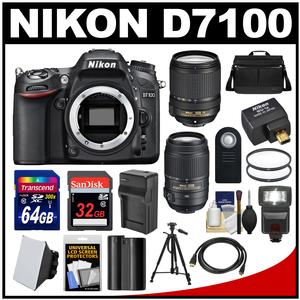 Nikon D7100 Digital SLR Camera with 18-140mm & 55-300mm VR Lenses WU-1a Bag & 32GB Card with 64GB Card + Flash + Battery & Charger + Tripod + Filters + Kit