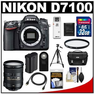 Nikon D7100 Digital SLR Camera Body with 18-200mm VR Lens + 32GB Card + Case + Battery + Filter + Tripod + Accessory Kit
