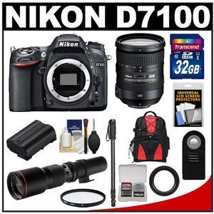 Nikon D7100 Digital SLR Camera Body with 18-200mm VR Lens + 500mm Tele Lens + 32GB Card + Battery + Backpack + Accessory Kit