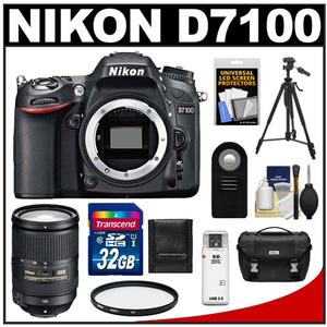 Nikon D7100 Digital SLR Camera Body with 18-300mm VR Lens + 32GB Card + Case + Filter + Remote + Tripod + Accessory Kit