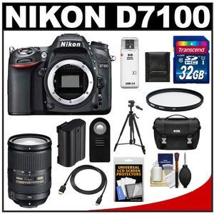 Nikon D7100 Digital SLR Camera Body with 18-300mm VR Lens + 32GB Card + Case + Battery + Filter + Tripod + Accessory Kit
