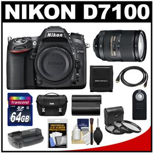 Nikon D7100 Digital SLR Camera Body with 18-300mm VR Lens + 64GB Card + Case + Battery & Grip + HDMI Cable + Filter Set