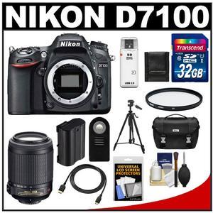 Nikon D7100 Digital SLR Camera Body with 55-200mm VR Lens + 32GB Card + Case + Battery + Filter + Tripod + Accessory Kit