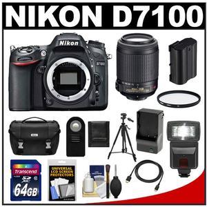 Nikon D7100 Digital SLR Camera Body with 55-200mm VR Lens + 64GB Card + Battery + Case + Flash + Filter + Tripod Kit
