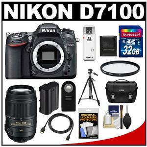 Nikon D7100 Digital SLR Camera Body with 55-300mm VR Lens + 32GB Card + Case + Battery + Filter + Tripod + Accessory Kit