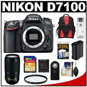 Nikon D7100 Digital SLR Camera Body with 70-300mm VR Lens + 32GB Card + Backpack + Battery + Filter + Accessory Kit