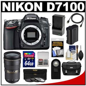 Nikon D7100 Digital SLR Camera Body with 24-70mm f/2.8 Lens + 64GB Card + Battery & Charger + Case + 3 Filters + Accessory Kit