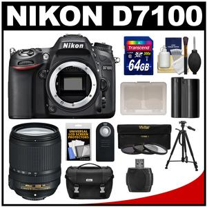 Nikon D7100 Digital SLR Camera Body with 18-140mm VR Lens + 64GB Card + Case + Battery + Tripod + 3 UV/CPL/ND8 Filters Kit