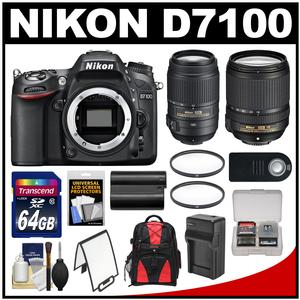 Nikon D7100 Digital SLR Camera Body with 18-140mm & 55-300mm VR Lens + 64GB Card + Backpack + Battery/Charger + Kit
