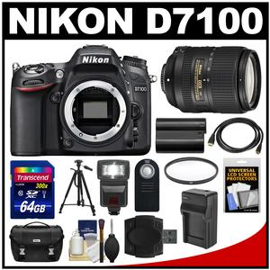 Nikon D7100 Digital SLR Camera Body with 18-300mm VR Lens + Case + Flash + Battery/Charger + Tripod + Kit