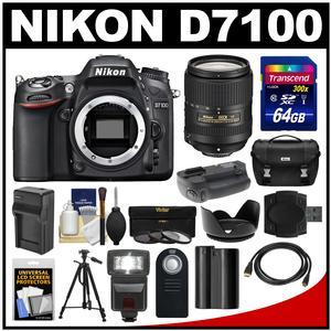 Nikon D7100 Digital SLR Camera Body with 18-300mm VR Lens + 64GB Card + Case + Flash + Battery/Charger + Grip + Tripod Kit