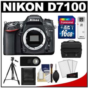 Nikon D7100 Digital SLR Camera Body - Factory Refurbished with 16GB Card + Case + Tripod + Remote + Accessory Kit