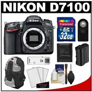Nikon D7100 Digital SLR Camera Body - Factory Refurbished with 32GB Card + Backpack + Battery + Remote + Accessory Kit