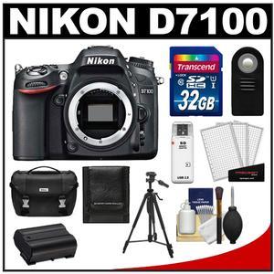 Nikon D7100 Digital SLR Camera Body - Factory Refurbished with 32GB Card + Case + Battery + Tripod + Remote + Accessory Kit