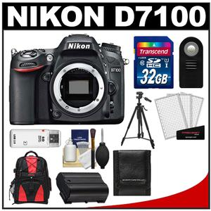 Nikon D7100 Digital SLR Camera Body - Factory Refurbished with 32GB Card + Backpack + Battery + Tripod + Remote + Accessory Kit