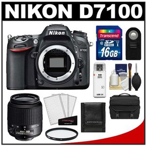 Nikon D7100 Digital SLR Camera Body - Factory Refurbished with 18-55mm VR AF-S Zoom Lens + 16GB Card + Case + UV Filter + Remote + Accessory Kit