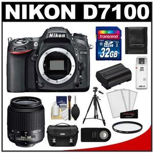 Nikon D7100 Digital SLR Camera Body - Factory Refurbished with 18-55mm VR AF-S Zoom Lens + 32GB Card + Case + Battery + Tripod + Filter + Remote Kit