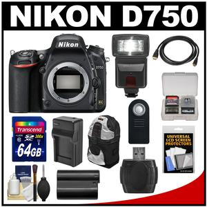Nikon D750 Digital SLR Camera Body with 64GB Card + Battery + Charger + Backpack + Flash + Kit
