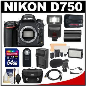 Nikon D750 Digital SLR Camera Body with 64GB Card + Battery & Charger + Case + GPS + Flash + LED Light + Mic + Kit