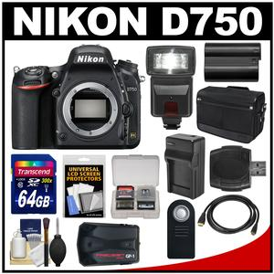 Nikon D750 Digital SLR Camera Body with 64GB Card + Battery & Charger + Messenger Bag + GPS Adapter + Flash + Kit