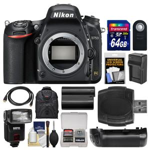 Nikon D750 Digital SLR Camera Body with 64GB Card + Case + Flash + Battery & Charger + Grip + Kit