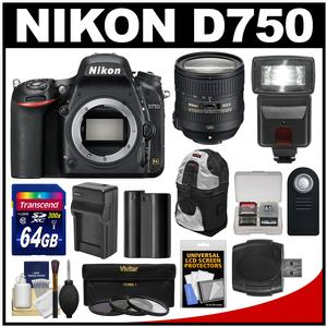 Nikon D750 Digital SLR Camera Body with 24-85mm VR Lens + 64GB Card + Battery & Charger + Backpack + 3 Filters + Flash + Kit