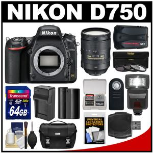 Nikon D750 Digital SLR Camera Body with 28-300mm VR Lens + 64GB Card + Battery + Charger + Case + Filters + GPS + Flash Kit