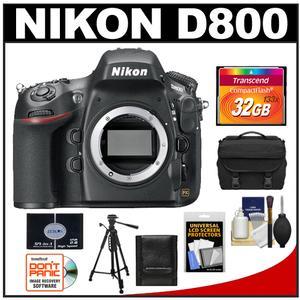 Nikon D800 Digital SLR Camera Body - Factory Refurbished with 32GB Card + Case + Tripod + Accessory Kit