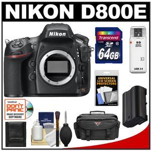 Nikon D800E Digital SLR Camera Body - Factory Refurbished with 64GB Card + Battery + Case + Accessory Kit