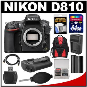 Nikon D810 Digital SLR Camera Body with 64GB Card + Battery & Charger + Backpack + Grip + Kit