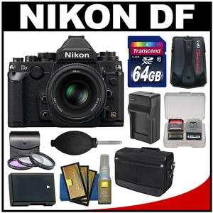 Nikon Df Digital SLR Camera & 50mm f/1.8G Lens (Black) with 64GB Card + Case + Battery & Charger + 3 UV/CPL/ND8 Filters + Accessory Kit