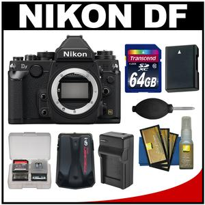 Nikon Df Digital SLR Camera Body (Black) with 64GB Card + Battery & Charger + GPS Adapter + Accessory Kit