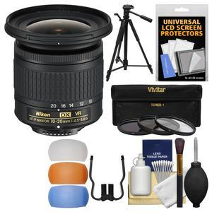 Nikon 10-20mm f-4.5-5.6G DX AF-P VR Zoom-Nikkor Lens with 3 UV-CPL-ND8 Filters + Tripod + Flash Diffusers + Kit