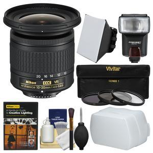 Nikon 10-20mm f-4.5-5.6G DX AF-P VR Zoom-Nikkor Lens with 3 UV-CPL-ND8 Filters + Flash + Soft Box + Diffuser + DVD + Kit