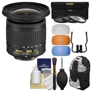 Nikon 10-20mm f-4.5-5.6G DX AF-P VR Zoom-Nikkor Lens with 3 UV-CPL-ND8 Filters + Backpack + Flash Diffusers + Kit