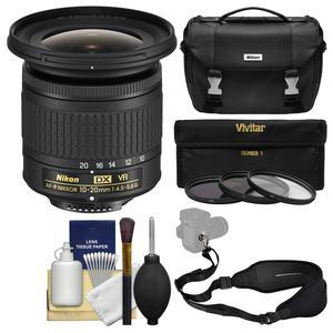 Nikon 10-20mm f-4.5-5.6G DX AF-P VR Zoom-Nikkor Lens with Case + 3 UV-CPL-ND8 Filters + Sling Strap + Kit