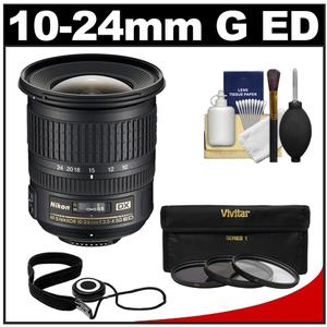 Nikon 10-24mm f-3.5-4.5 G DX AF-S ED Zoom-Nikkor Lens with 3 UV-ND8-CPL Filters + Accessory Kit