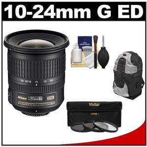 Nikon 10-24mm f-3.5-4.5 G DX AF-S ED Zoom-Nikkor Lens with Backpack + 3 UV-ND8-CPL Filters + Cleaning Kit