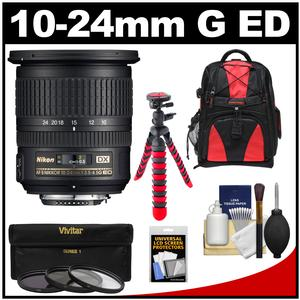 Nikon 10-24mm f-3.5-4.5 G DX AF-S ED Zoom-Nikkor Lens with 3 UV-CPL-ND8 Filters + Backpack + Flex Tripod + Kit