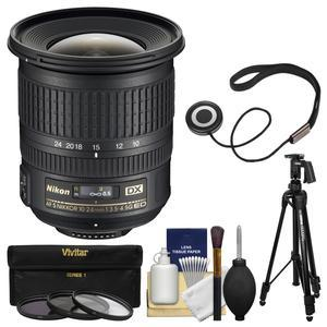 Nikon 10-24mm f-3.5-4.5 G DX AF-S ED Zoom-Nikkor Lens with Pistol-Grip Tripod + 3 UV-CPL-ND8 Filters + Kit