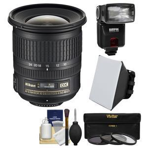 Nikon 10-24mm f-3.5-4.5 G DX AF-S ED Zoom-Nikkor Lens with Flash + Soft Box + 3 UV-CPL-ND8 Filters + Kit