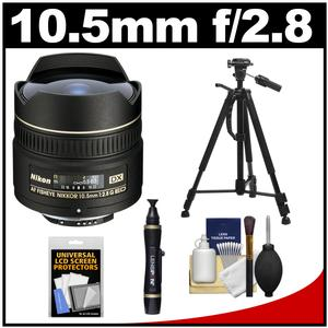 Nikon 10.5mm f-2.8G ED DX AF Fisheye-Nikkor Lens with Tripod + Kit