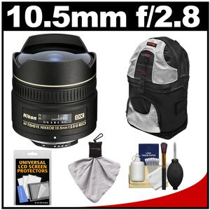 Nikon 10.5mm f-2.8G ED DX AF Fisheye-Nikkor Lens with Sling Backpack + Kit