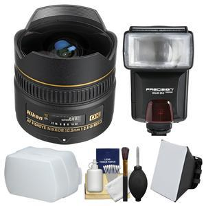 Nikon 10.5mm f-2.8G ED DX AF Fisheye-Nikkor Lens with Flash + Soft Box and Bounce Diffusers + Kit