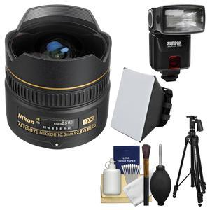 Nikon 10.5mm f-2.8G ED DX AF Fisheye-Nikkor Lens with iTTL Flash + Soft Box + Tripod + Kit