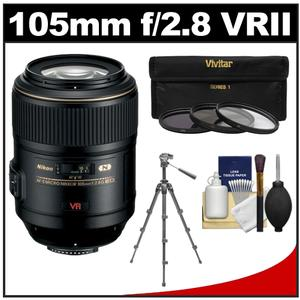 Nikon 105mm f/2.8 G VR AF-S Micro-Nikkor Lens with 3 UV/CPL/ND8 Filters + Macro Tripod + Cleaning Kit