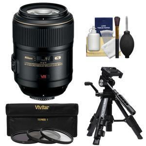 Nikon 105mm f-2.8 G VR AF-S Micro-Nikkor Lens with 3 UV-CPL-ND8 Filters + Macro Tripod + Cleaning Kit