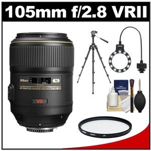 Nikon 105mm f/2.8 G VR AF-S Micro-Nikkor Lens with Tripod + UV Filter + Macro Ring Light + Accessory Kit